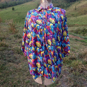 Vintage men's button down shirt Marilyn Monroe James dean graphic novelty Andy Warhol print faces bright loud ugly unisex size neon medium m