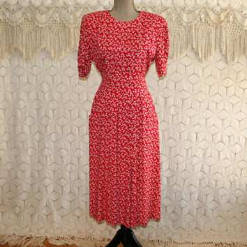 90s Dress Petite Short Sleeve Midi 40s Style Day Dress Boho Grunge Red Print Dress with Pockets Rayon Modest Dress Womens Vintage Clothing