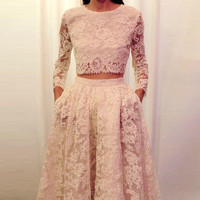 Long Sleeve Lace Two Piece Prom Dresses