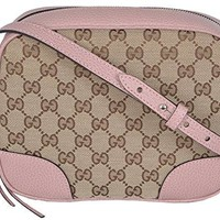 Gucci Women's Beige Pink Canvas Leather GG Guccissima Bree Crossbody Purse