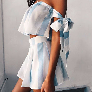 Athena White & Blue Striped Two-Piece