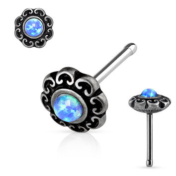 Blue Opal Centered Tribal Heart Filigree 20ga Antique Silver Plated Top 316L surgical Steel Nose Stud Rings