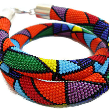 Bead crochet rope necklace geometrical pattern. Beadwork necklace. Multicolor necklace. Turquoise, red, orange, yellow, green, purple.
