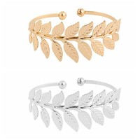 Trendy Popular Silver Gold Color Copper Leaf Swirl Arm Cuff Armlet Open Bangles For Women Bracelet Jewelry