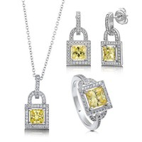 Princess Cut Canary Cubic Zirconia CZ 925 Sterling Silver Halo Pendant Necklace Dangle Earrings And Ring Matching 3 Pc Set #vs128