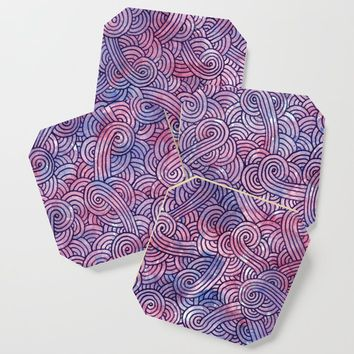 Dark purple swirls doodles Coaster by savousepate
