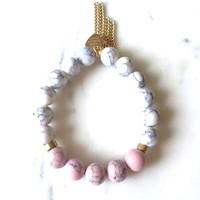 Tassel + Marbled Beaded Bracelet