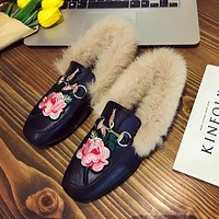 Women Fashion All-match Flower Embroidery Rabbit Hair Square-toe Leather Shoes Loafer Flats Shoes