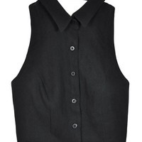 Scout Black Backless Button Up