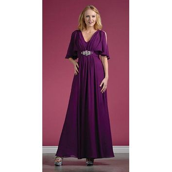 CLEARANCE - Long Chiffon Grecian Eggplant Dress Mid Length Sleeves V Neck (Size M, L)