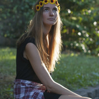 Sunflower Braided Flower Crown