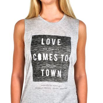 "Zoe Karssen ""Love Comes to Town"" Loose Fit Muscle Tank in Grey Heather"