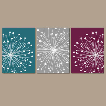 DANDELION Wall Art CANVAS or Prints Teal Gray Maroon Bedroom Pictures Bathroom Artwork Bedroom Pictures Flower Dandelion Set of 3 Home Decor
