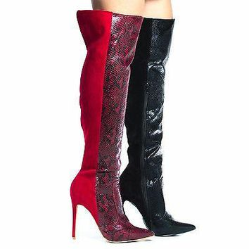 Saleen By Shoe Republic, High Hell Thigh High Dress Boots w Snake Print / Suede Combo