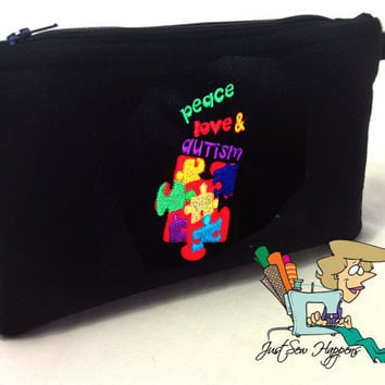 Autism Black Makeup Bag / Gadget Bag / Wet Bag Peace Love & Autism