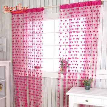 New Chic Curtain Window Loving Heart Pattern Vestibule Floral  Tassel String  Balcony Lifting Sheer Valance Scarf  Room Decor