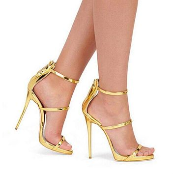 Metallic Strappy Sandals Silver Gold Platform Gladiator Sandals Women High Heels