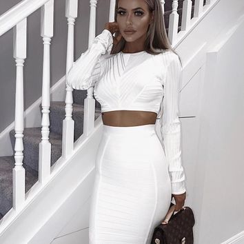 Sorcha Two Piece Glam White set
