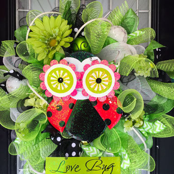 Lime Green and White Wreath, Front door wreath, Wreath with Owl, Deco Mesh Wreath, Ready to Ship