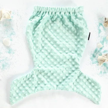 Mermaid tail 1M-10Y mint fleece blanket, birthday girl unique gift dressing up clothes newborn baby gift mermaids tail made to order