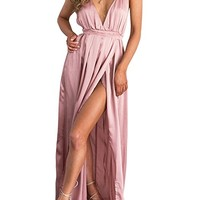 Women's Sexy Sleeveless Backless Deep V neck Split Satin Long Party Dress Gown