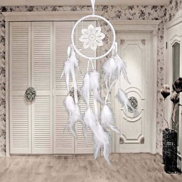 Handmade Lace Flower Indian Dream Catcher White Lace Feather Beads Wall/ Car/ House Hanging Decoration Sweet Dream Gift White