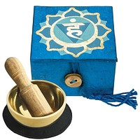 "Tibetan Mini Meditation Bowl and Box: 2"" Throat Chakra"