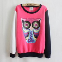 PEAPON Owl cartoon round neck sweater