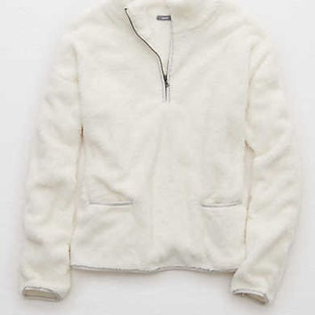 Fuzzy Zip Sweater , Soft Muslin