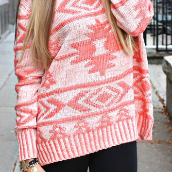 Arizona Sands Sweater - Coral