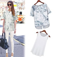 White Printed Short-Sleeve Blouse With White Skinny Pants