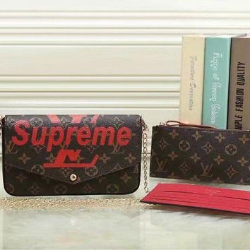 PEAPUP0 LV x Supreme Women Fashion Shopping Satchel Crossbody Purse Wallet Three Piece Set-3