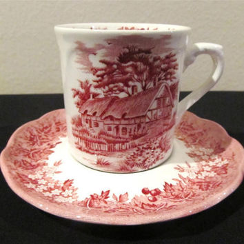 Vintage Tea Cup and Saucer J & G Meakin Romantic England Pattern-  Ironstone - Red transferware - Serving