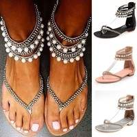 Pearl Gladiator Sandals