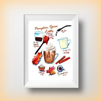 Printable Recepi| pmpkin spice latte Wall Art rustic welcome autumn fall home decor thanksgiving decor large print fall party sign 4x6 16x20