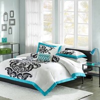 Mizone Florentine 4 Piece Duvet Cover Set, Full/Queen, Teal
