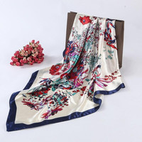 New Fashion Ladies Square Scarf Flora Printed Women Wraps   ladies Scarves Polyester headband 90*90cm #1201 GS