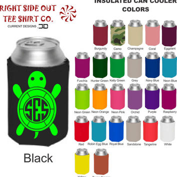 Turtle Monogram Insulated Can Cooler