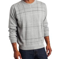Van Huesen Men's 9GG Fancy Windowpane Crew Neck Sweater