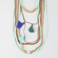 Full Tilt Suede/Tassel Layered Swag Necklace Mint One Size For Women 25872652301