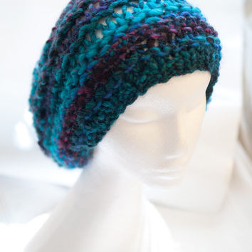 Turquoise Beanie / Slouch with pink elements