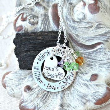 Personalized Nana Necklace, gift for nana from grandchildren - kid names on washer
