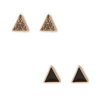 FOREVER 21 Rhinestoned Triangle Stud Set Black/Gold One