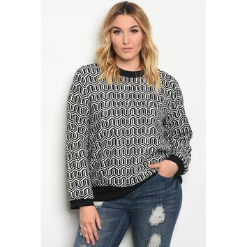 Plus Size Grey Crew Neck Long Sleeve Sweater