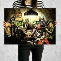 Poster Print Joker Harley Quinn Playing Poker Wall Decor Canvas Print - halawatani.com