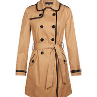 Camel Leather-Look Trim Trench Coat