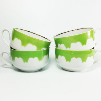 Set of 4 grass green vintage ceramic cups Soviet USSR tea coffee mocha bowl serving demitasse mug jug Scandinavian Nordic Swedish