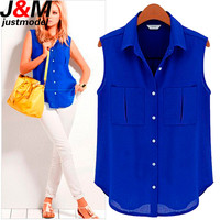 Women Chiffon Blouses 2015 Ladies Summer Tops Woman Fashion Sleeveless Casual Shirts Female Work Wear Office Blouses Shirts