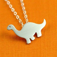 Darling Dinosaur Necklace in Silver by ANORIGINALJEWELRY on Etsy