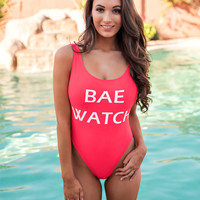 """""""Bae Watch"""" Graphic Dip Back Cheeky One Piece Swim Suit (Strawberry)"""